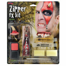 Devil Zipper Face Kit Zip Teeth Fangs Horns Special FX Halloween Makeup Demon