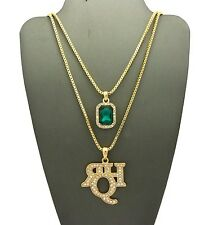 NEW ICED OUT RICH HOMIE QUAN & EMERALD COLOR STONE CHAIN SET.