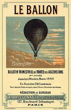 VINTAGE LE BALLON HOT AIR BALLOON FRENCH ADVERTISING A4 POSTER PRINT