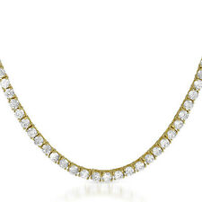 "Ladies 14k Gold Finish 1 Row Simulated Diamond Tennis Chain Necklace 36"" 4mm"