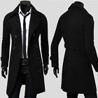 Vintage LUXURY Men's Slim Fit Pea Coat Double Breasted Jacket Long Trench Coats