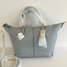 NWT COACH Bleecker Embossed Logo Leather Cooper Satchel Powder Blue 27957
