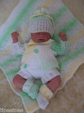 "DK Knitting Pattern 48 TO KNIT Early Baby Boys 14-16"" Reborn Dolls Matinee Set"
