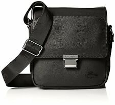 Lacoste Mens Rafael Leather Small Crossover Bag, Black