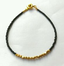 "Afghan Black Glass Tiny Seed Beads Bracelet w/t Gold Plated Beads 7"" handmade"