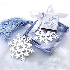 HOT Lovely Cute Snowflake Creative Exquisite Alloy Bookmark With Ribbon Box Gift