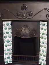 William Morris Green Daisy Tile 10 Tiles For Fireplace Hand Made Kiln Fired