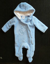 Baby clothes BOY 0-3m blue soft fleecey Rock-a-Bye Baby pramsuit hood SEE SHOP!