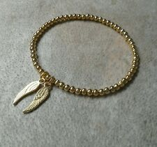 Simple Gold Ball Beaded Double Wing Angel Charm Stretch Bracelet, Bangle ⭐
