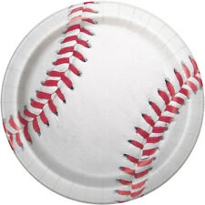 BASEBALL LARGE PAPER PLATES (8) ~ Sports Birthday Party Supplies Dinner Luncheon
