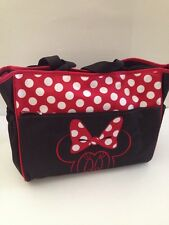 Disney Minnie Mouse Baby Girl Diaper Bag Tote Black Red Polka Dot Shower Gift