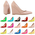 WOMENS LADIES WEDGED PLATFORMS WEDGES HIGH HEELS COURT SHOES PATENT LEATHER SIZE
