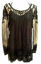 NEW VINTAGE BLACK LACE DRESS TUNIC-18 gothic party evening wicca boho hippie