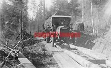 1920 OREGON Early Pacific Northwest Logging Truck hauling log, timber roadway