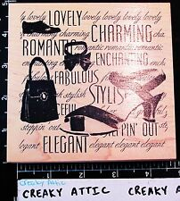 CLUB SCRAP FASHION SHOES PURSE WORDS RUBBER STAMP