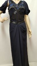 Amanda Wakeley Navy Embroidered Silk Chiffon Gown/dress - Purchased For £2,500