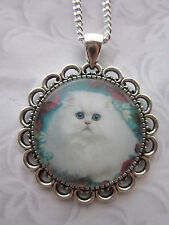 vintage flower cat pet glass cabochon pendant charm necklace silver plated white
