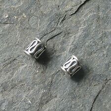 2 Bali Sterling Silver Barrel Beads 5mm x 4mm