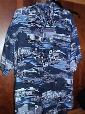 MEN'S SZ XL CLASSIC CARS HAWAIIAN SHIRT DINERS GAS STATION MAN CAVE ATTIRE TOP