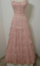 Vintage Pink Silk Tiered Lace Hook & Eye Snap Close Full Swing Sweep Formal Gown