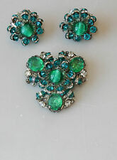 Vintage Miriam Haskell Brooch Pin Earrings Art Glass Crystals Green Teal #116