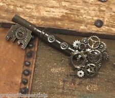 KEY GEAR PIN Large Steampunk Costume Gears Victorian Jewelry Antique Skeleton