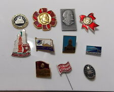 Asst Vintage Russian Pin Lot Circa 80's or Older Lenin Moscow Cold War Military