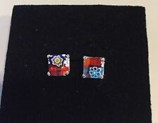 Alan K, 925 Sterling Silver Earrings With Murano Glass Red Multicolored