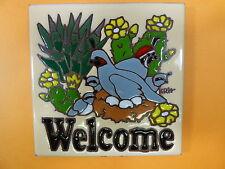 """Ceramic Art Tile 6""""x6"""" Welcome sign Quail family nest eggs trivet wall table F98"""