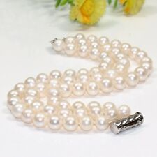 fashion 3 row 7-8mm 8-9mm white pink cultured round real pearl bracelet bangle