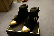 BALMAIN X H&M Suede Gold Ankle Boots Size 5.5