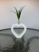 Handmade Mango Wood Vase Heart Shape White  + Tracking Number