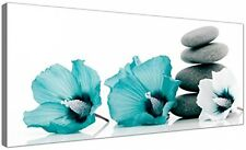 Large Canvas Pictures Of Teal Flowers And Grey Pebbles - Turquoise Floral Wall