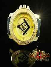 MEN'S ICED OUT YELLOW GOLD FINISH BLING MASTER LAB DIAMOND SIMULATE  WATCH