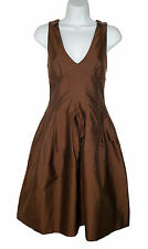 NEW Burberry Italy 6 40 Lila Dress Brown taffeta Silk Blend NWT
