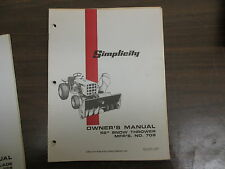"""Simplicity 52"""" Snow thrower blower owners & maintenance manual Model# 709"""