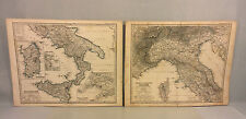 Antique Italy Stielers 19th Century Copper Map Engraving (In German) 1869