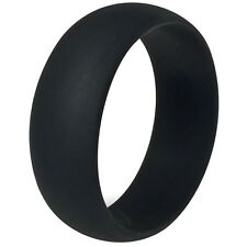 SZ 7-15 Black Silicone Hypoallergenic Rubber Ring Band Wedding Engagement School