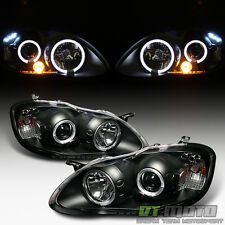 Blk 2003-2008 Toyota Corolla LED Halo Projector Headlights Headlamps Left+Right