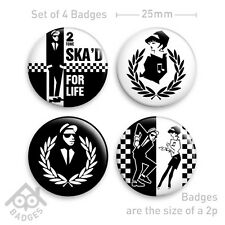 SKA 2 Tone RUDE BOY Walt Jabsco SKA'D FOR LIFE RUDE GIRL -Set of 4 x 25mm Badges