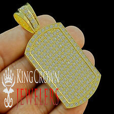 MENS 14K YELLOW GOLD FINISH LAB DIAMOND ICED OUT HIP HOP DOG TAG CHARM PENDANT