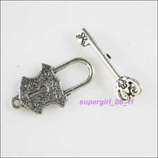 4Sets Tibetan Silver Heart Lock Key Connectors Toggle Clasps