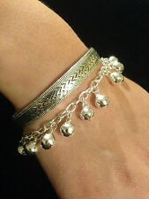 Bracelet Pair Silver Jingly Bells Boho Hippie Tribal Belly Dance Gypsy Bohemian