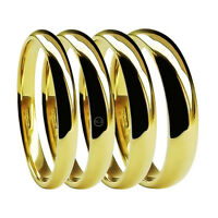 9ct Yellow Gold Medium Court Wedding Rings 2mm 3mm 4mm 5mm 6mm 8mm UK HM Bands