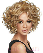 2015 Ladies Women's fashion Curly mixed blonde Natural Hair Wigs + wig cap