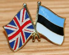 UK & ESTONIA FRIENDSHIP Flag Metal Lapel Pin Badge Great Britain