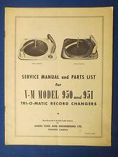 V-M 950 951 SERVICE MANUAL & PARTS LIST TRI O MATIC CHANGERS FACTORY ORIGINAL
