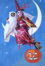 HallOWEEN print, WITCH MOON OWL, and Jack o lantern vintage art