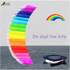 NEW 2m 78 In Rainbow Power Dual Line Stunt Parafoil Parachute Beach Kite surfing