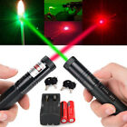 MILITARY 532NM GREEN 650NM RED LASER POINTER PEN BURNING+18650 BATTERY +CHARGER!